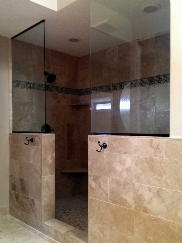 Glass Shower Panels on Half-Walls