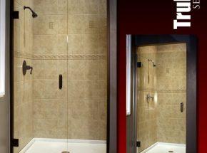 trufit shower, continuous hinge, heavy glass, fiberglass surround, frameless shower