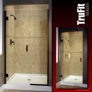 trufit shower, continuous hinge, heavy glass, fiberglass surround, frameless shower
