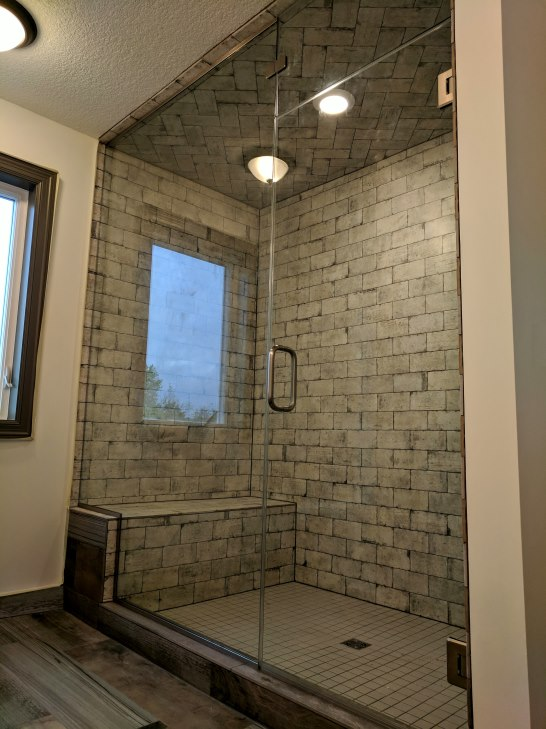 steam shower, frameless, designer bathroom
